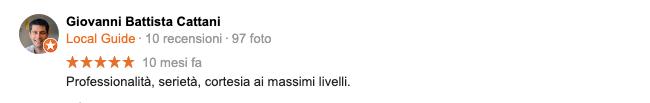 recensione Google - Giovanni Battista Cattani